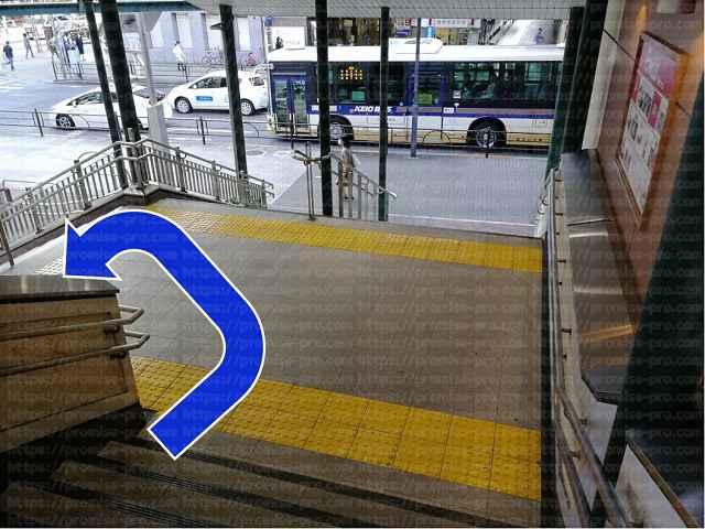 階段をUターンする画像